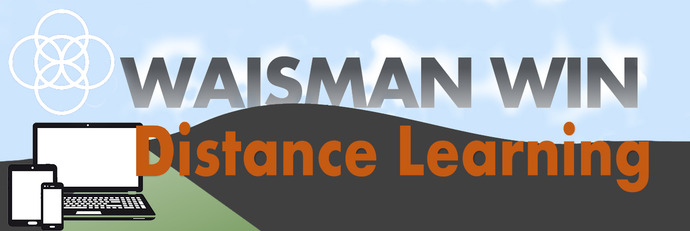 Image of Waisman WIN Distance Learning with phone, tablet, laptop, and hills